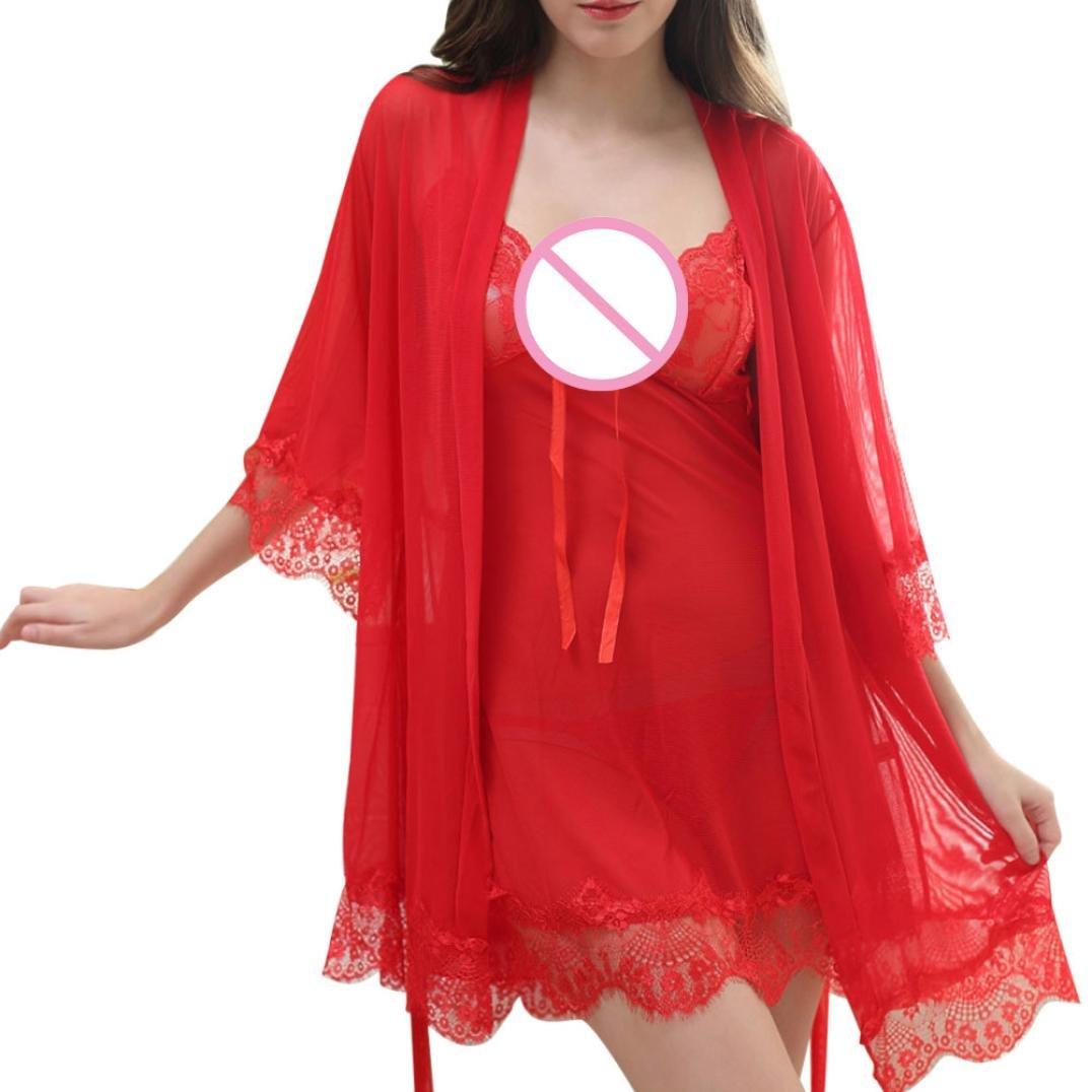 Lavany Women Lingerie 3PC V Neck Nightwear Lace Floral Babydoll Halter Sleepwear Set LNY017