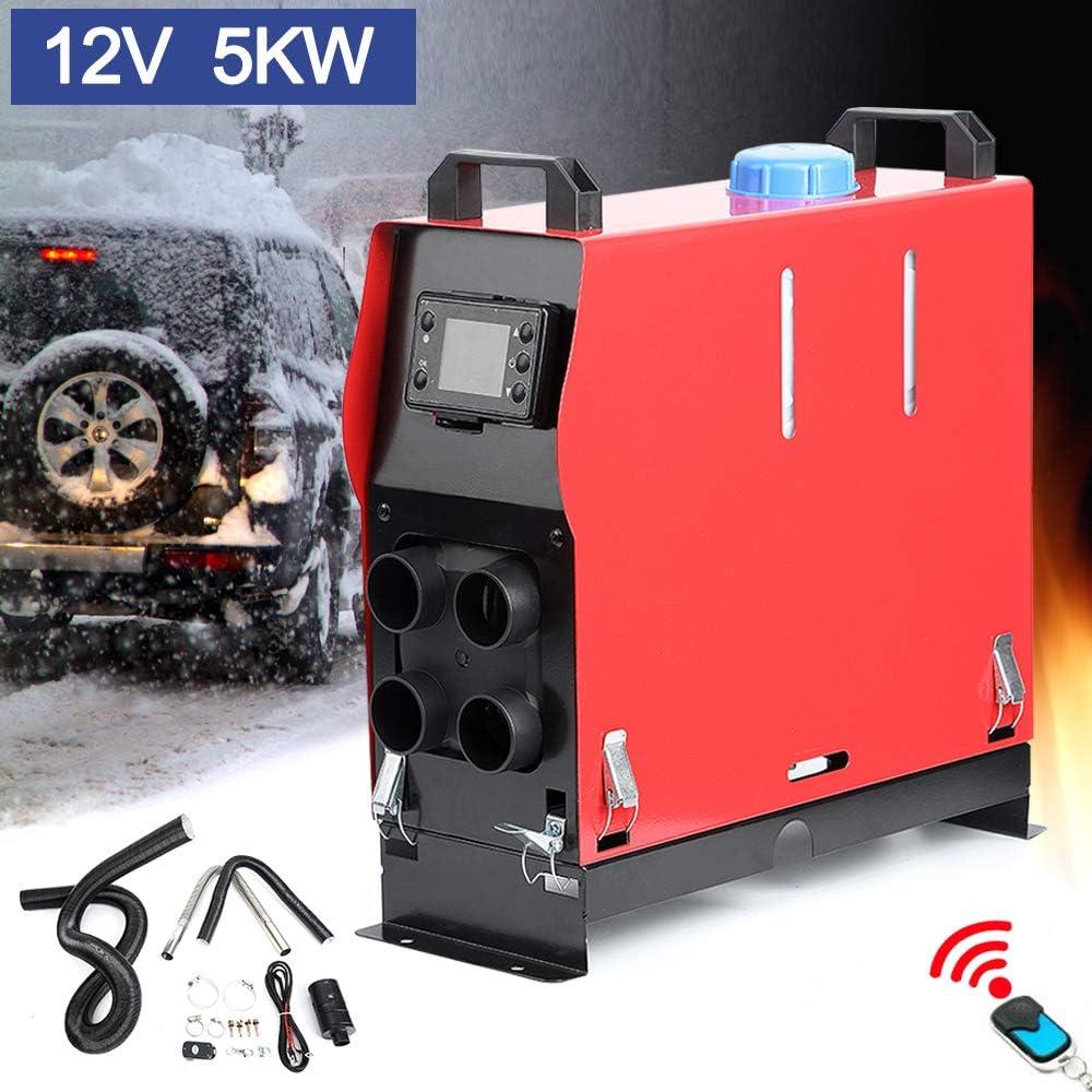 Triclicks Air Diesel Heizung Air Standheizung 5kw 12v Diesel Luftheizung Kraftstoff Auto Heizung Lufterhitzer Mit Fernbedienung Lcd Monitor Für Rv Boote Lkw Wohnmobil Anhänger Wohnmobile Rot Auto