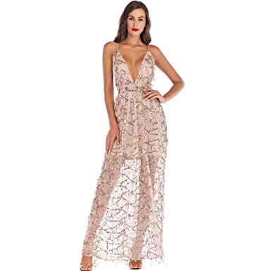 66c95444442f Amazon.com: Ghazzi Women Dresses Sexy Lace V Neck Sequin Party Prom Maxi  Dress Halter Backless Evening Cocktail Swing Dress: Clothing