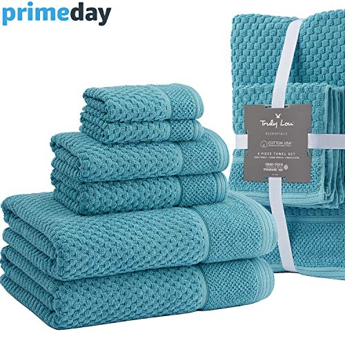 Truly Lou Cotton 6 Piece Towel Set | 2 Bath Towels, 2 Hand Towels, 2 Washcloths | Ultra Soft, Highly Absorbent, Oversized and Eco-Friendly | Decorative Pique Cuff Design (Capri Blue)