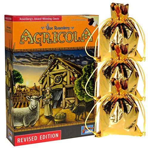 "Agricola Game Revised Edition"" || Bonus 3 Gold Metallic Cloth Drawstring Storage Pouches || Bundled Items (Morels Card Game)"