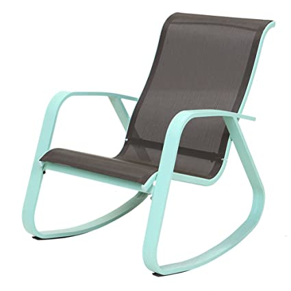 Grand Patio Modern Swing Rock Chair Glider With Macaron Blue Aluminum  Frame, Indoor / Outdoor