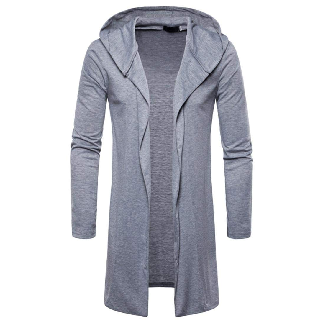 Mens Long Sweatshirt,Realdo Casual Autumn Winter Solid Slim Trench Coat Jacket Cardigan Long Sleeve Outwear(Medium,Gray)