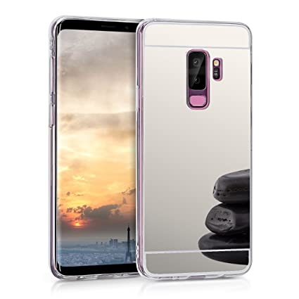 kwmobile Mirror Case for Samsung Galaxy S9 Plus - TPU Silicone Bumper Protective Cover Reflective Back Case - Silver Reflective