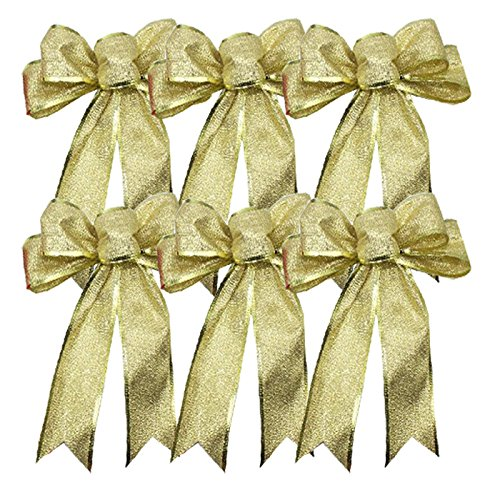 (Insho 6 Pcs 9.8 Inch Xmas Tree Bows Charms Wreaths Decorations Ornaments Bows(Gold))