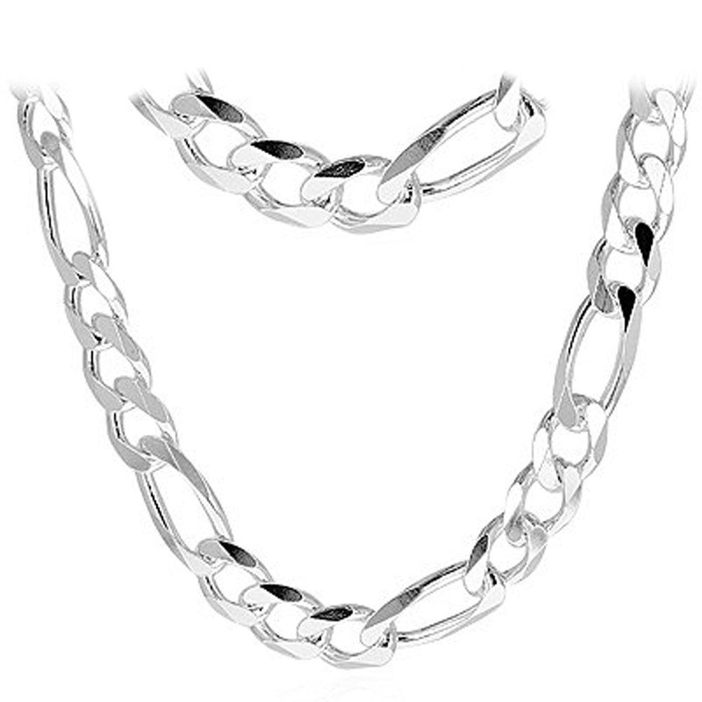 Figaro 350-12MM .925 Sterling Silver Italian Link Chain (28 Inches)