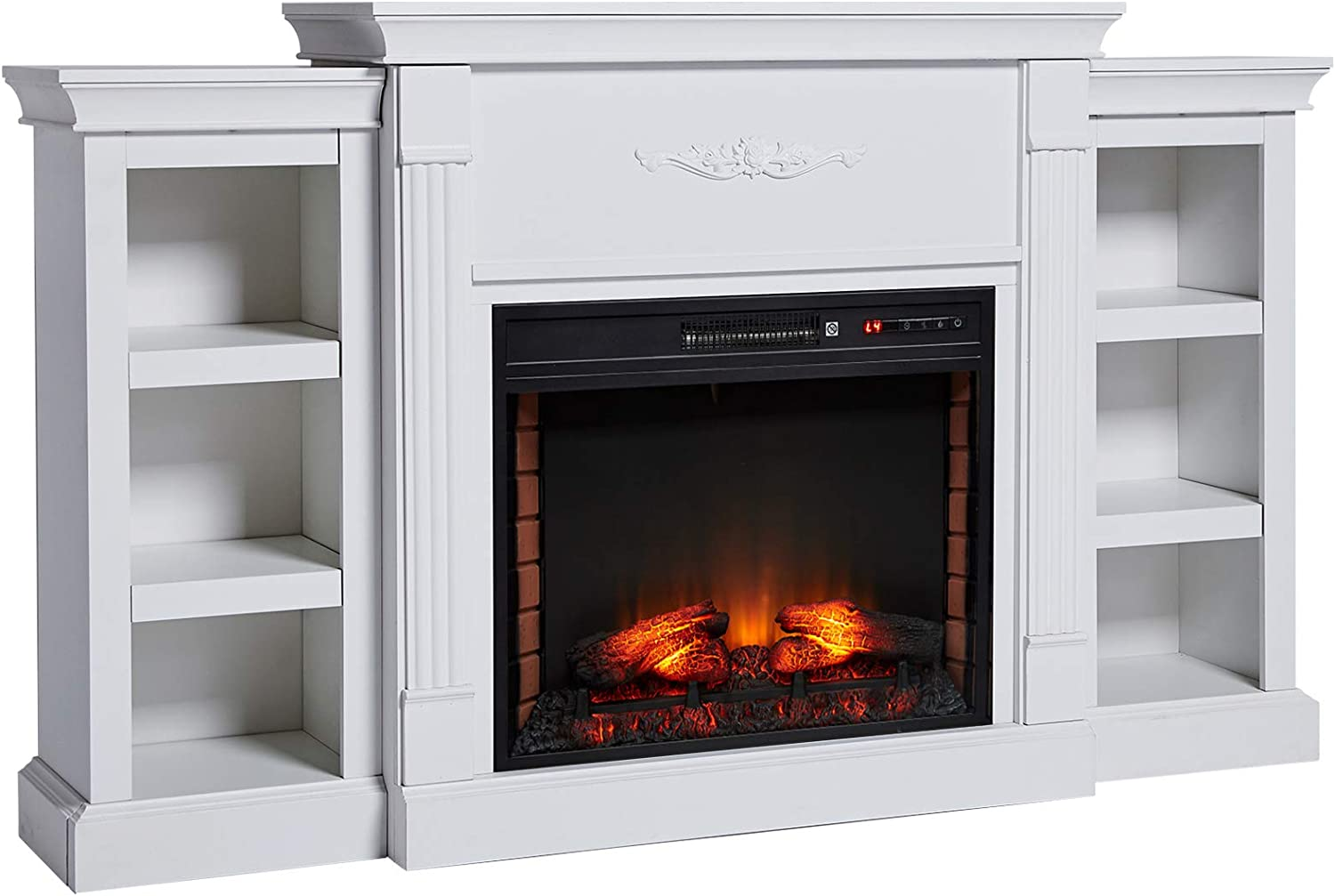 Homcom Electric Fireplace Freestanding 1400w Artificial Flame Effect With Detachable Side Cabinets Wood Cream White Home Kitchen