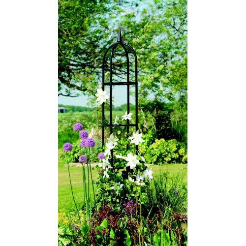 Deluxe Classical Gardman Garden Obelisk Black 2m x 0.4m with decorative finial