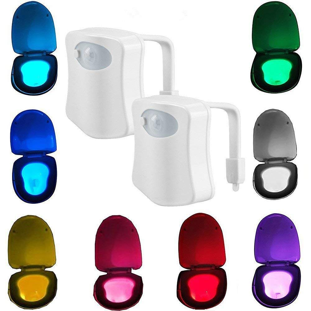 2-Pack Kingcenton Advanced Motion Sensor LED Toilet Light, Inside Tolit Bowl Nightlight, Human Body Motion Auto Activated Sensor Seat Night Lamp, 8-Color Changing (Only Activates in Darkness)