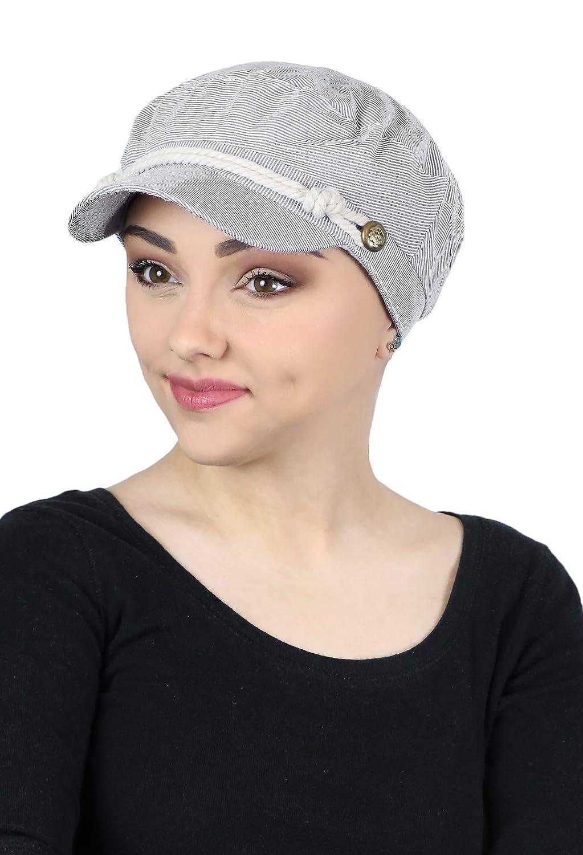 Summer Hats Beach Sun Newsboy Cap for Women Ladies Nautical Cabbie Chemo Headwear Head Coverings Seersucker