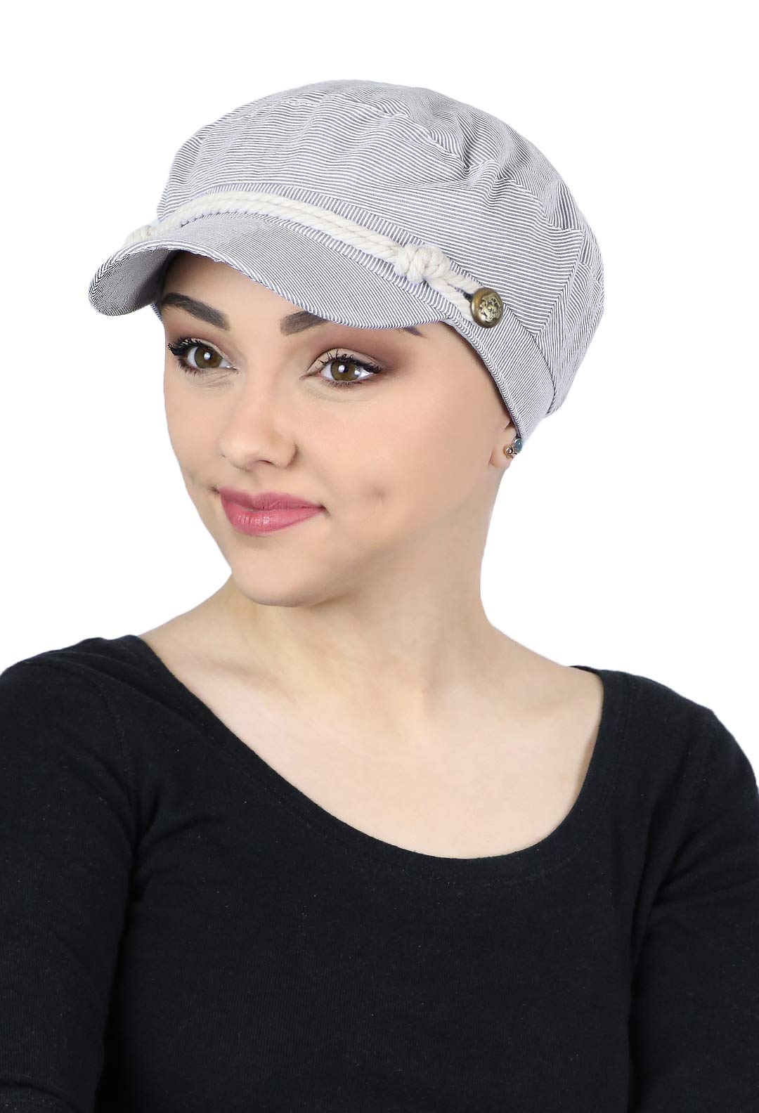 Summer Hats Beach Sun Newsboy Cap for Women Ladies Nautical Cabbie Chemo Headwear Head Coverings Seersucker (Black)