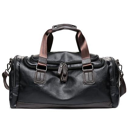 e3b01ede49f23d LUVODI Mens Genuine Leather Duffle Bag Travel Tote Handbag Gym Overnight  Weekend Holdall Carry On Bag
