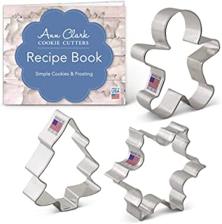 product image for Ann Clark Cookie Cutters 3-Piece Christmas and Holiday Cookie Cutter Set with Recipe Booklet, Snowflake, Gingerbread Man and Christmas Tree