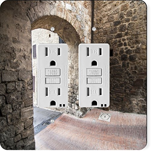 Rikki Knight 2022 Gfidouble Narrow Tuscan Street Design Light Switch Plate - Tuscan Archway