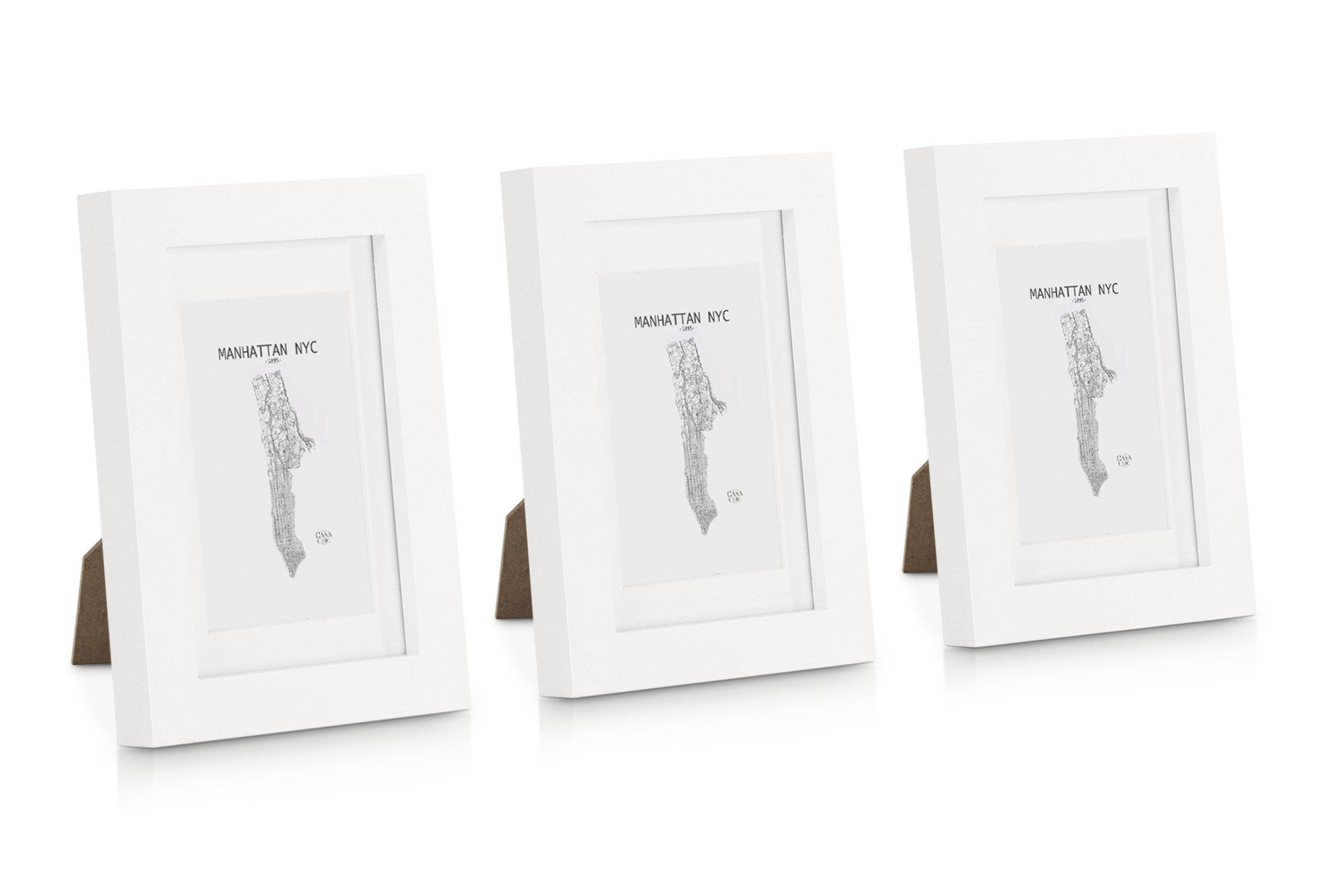 Classic by Casa Chic Cadre Photo 10 x 15 cm - Lot de 3 Cadres photos - Bois de Pin MASSIF - Vitre en VERRE - Profil de Cadre 2 cm ! - Blanc product image