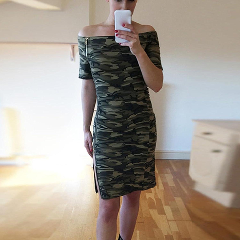 Longra Damen Streetwear Sommerkleider Schulterfrei Kleid Camouflage ...