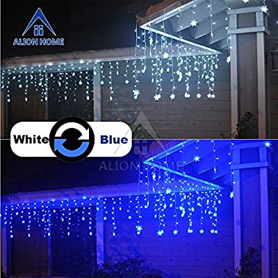 Alion Home Snowflakes 2-in-1 Dual Color 176-Count LED Hanging Curtain Style Icicle Lights with 9 Functions & Controller- 16ft W × 2ft H- Cool White + Blue