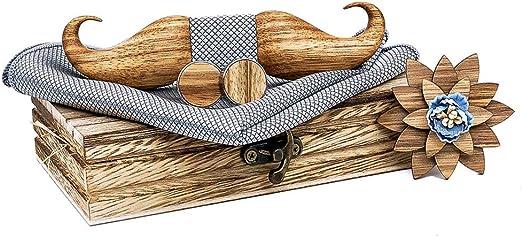 Herren 4 stücke Holz fliege Set Männer Taschentuch holz Bowtie