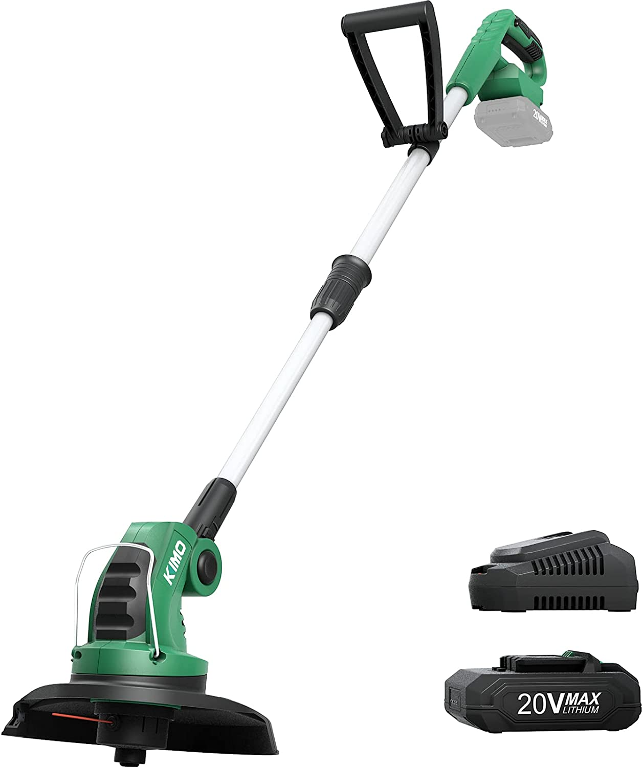 KIMO Weed Wacker, 20V Cordless String Trimmer/Edger w/ 2.0Ah Lithium-ion Battery & Charger, Telescopic Rod, 10