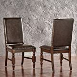 ModHaus Living Modern Rustic Upholstered Accent Dining Chairs with Nailhead and Wood Legs (Set of 2) – Includes Pen (Brown PU) Review