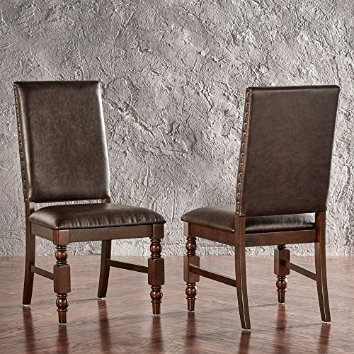 ModHaus Living Modern Rustic Upholstered Accent Dining Chairs with Nailhead and Wood Legs (Set of 2) - Includes Pen (Brown PU)