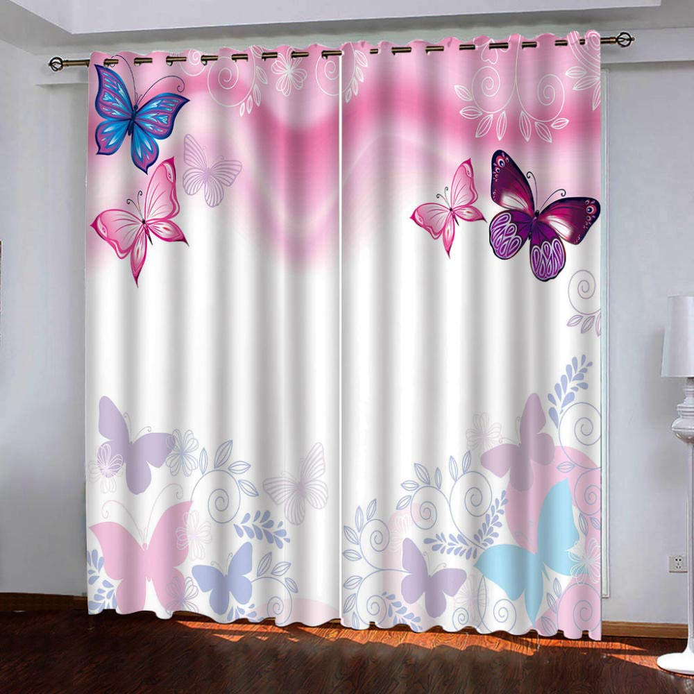 EJCNCL Vorhang Wohnzimmer 2er Set Blickdicht 150x166cm Schallschutz W/ärmeisolierung Schmetterling fliegt Atmungsaktiv Digitaldruck Used for Schlafzimmer Childrens Room