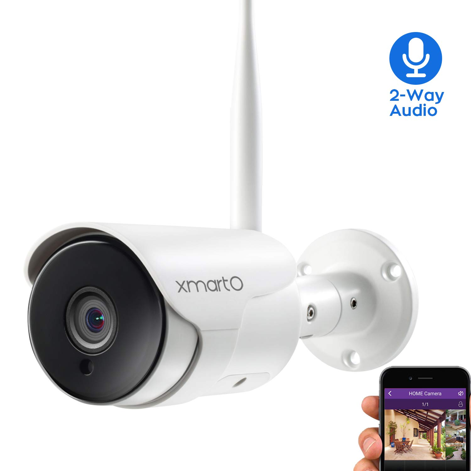 xmartO XMARTO 1080P Full HD Wireless Security Camera, Two-Way Audio, WiFi IP Home Surveillance Bullet Camera with Night Vision, Remote Access, IP65 Weather-Resistant, Motion Detection Alert