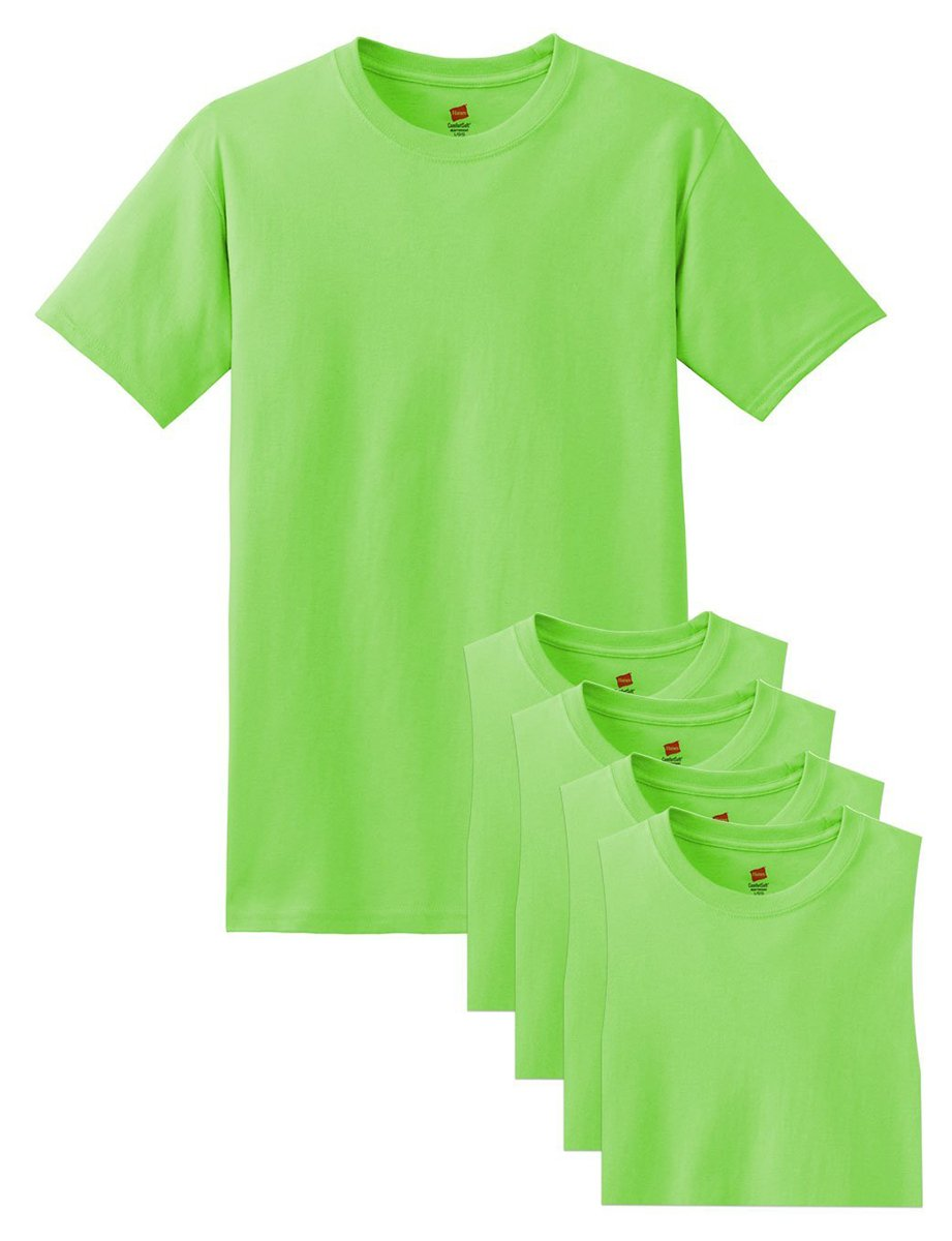 Hanes メンズ Tシャツ ラベルなし 柔らかくて快適 丸首(5枚入り) B015NJPY8K Large|Lime Lime Large