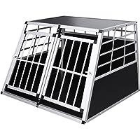WIS Hundetransportbox aus Aluminium Hundebox für den Transport Kleiner Hunde Silber-Schwarz für PKW Kofferraum