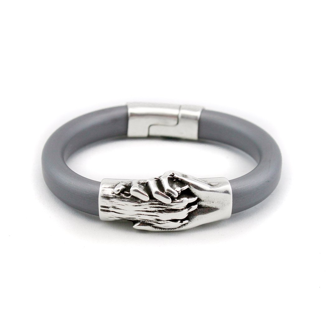 Platinum Rubber Bracelet with Silver Hand and Dog Paw Charm|Magnetic Clasp|Ideal for Pet Lovers and Pet Memorials by Hand and Paw Project Inc.