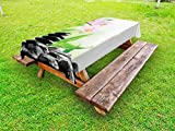 Ambesonne Spa Outdoor Tablecloth, Zen Basalt Stones and Orchid with Dew Peaceful Nature Theraphy Massage Meditation, Decorative Washable Picnic Table Cloth, 58 X 84 inches, Black Pink Green