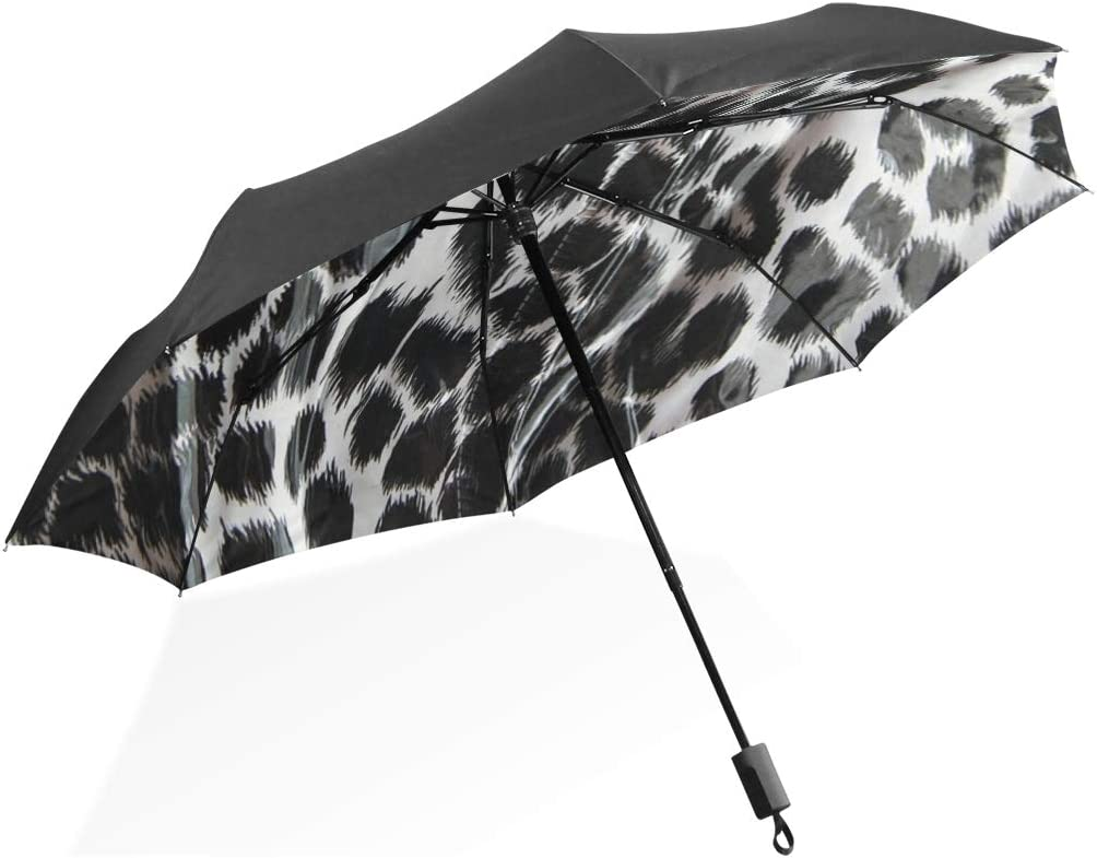 Reversible Umbrella For Women Leopard Pattern Black And White Leopard Pattern Portable Compact Folding Umbrella Anti Uv Protection Windproof Outdoor Travel Women Good Umbrellas For Women