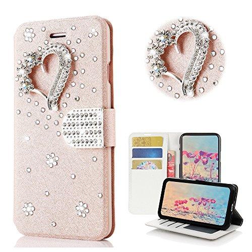 Heart Bling Bling (STENES Google Pixel 2 XL Case - Stylish - 3D Handmade Bling Crystal Pretty Heart Desgin Wallet Credit Card Slots Fold Media Stand Leather Case Google Pixel 2 XL - Pink)