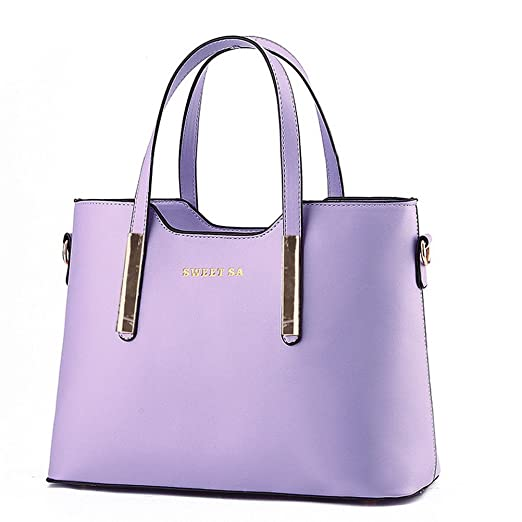 Fashion Road PU Leather Womens Shoulder Bags Top-Handle Handbag Tote Purse Bag Purple