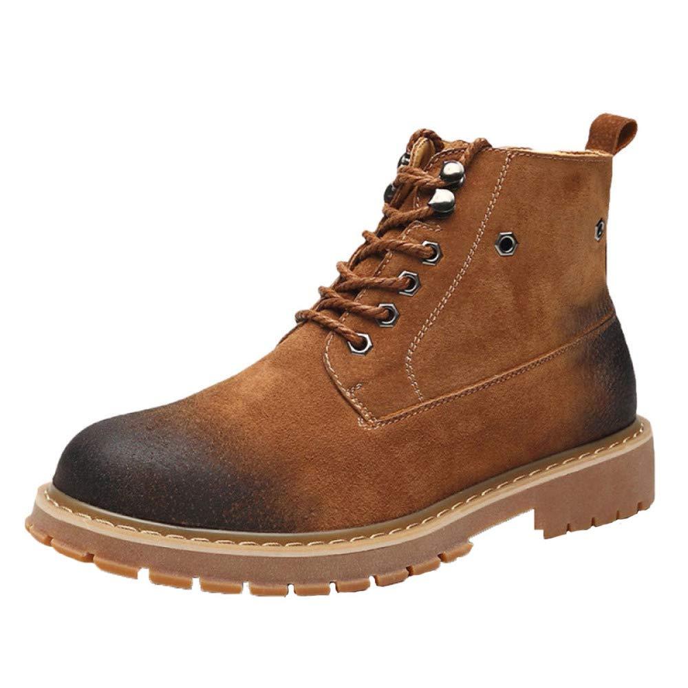 JIAMIJ Herren Lederstiefel Oxford Schuhe Retro Formelle Arbeit Rutschfeste Verschleißfeste Casual Classic Schuhe,braun-Plusvelvet-38
