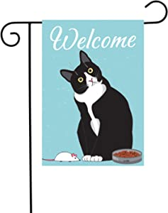 PANHUI Black Cat Welcome Garden Flag,House Decorative Seasonal Outdoor Yard Lawn Double Sided Flag 12 x 18 Inch
