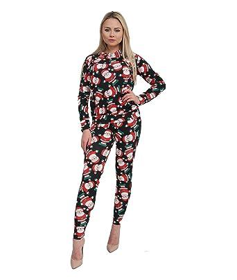 fatal fashion womens christmas santa snowman 2 pcs lounge suit ladies xmas fancy tracksuit set amazoncouk clothing - Santa Snowman 2