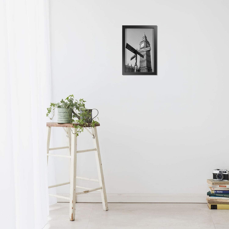Onewall Cadre Photo 28x28 cm Lot de 4 Cadre Photo en Verre Tremp/é Cadre D/écoration Murale Cadre en Bois avec Passe-Partout pour Photo de Format 20x20 cm