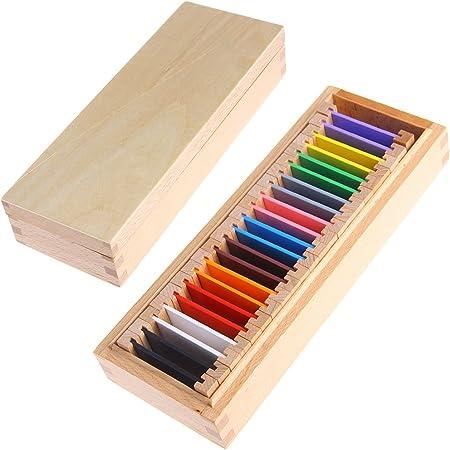 LyGuy Montessori Sensorial Material Learning Color Tablet Box 1/2/3 Madera Preescolar Juguete Una Caja de Color Tableta Regalo para niños: Amazon.es: Hogar