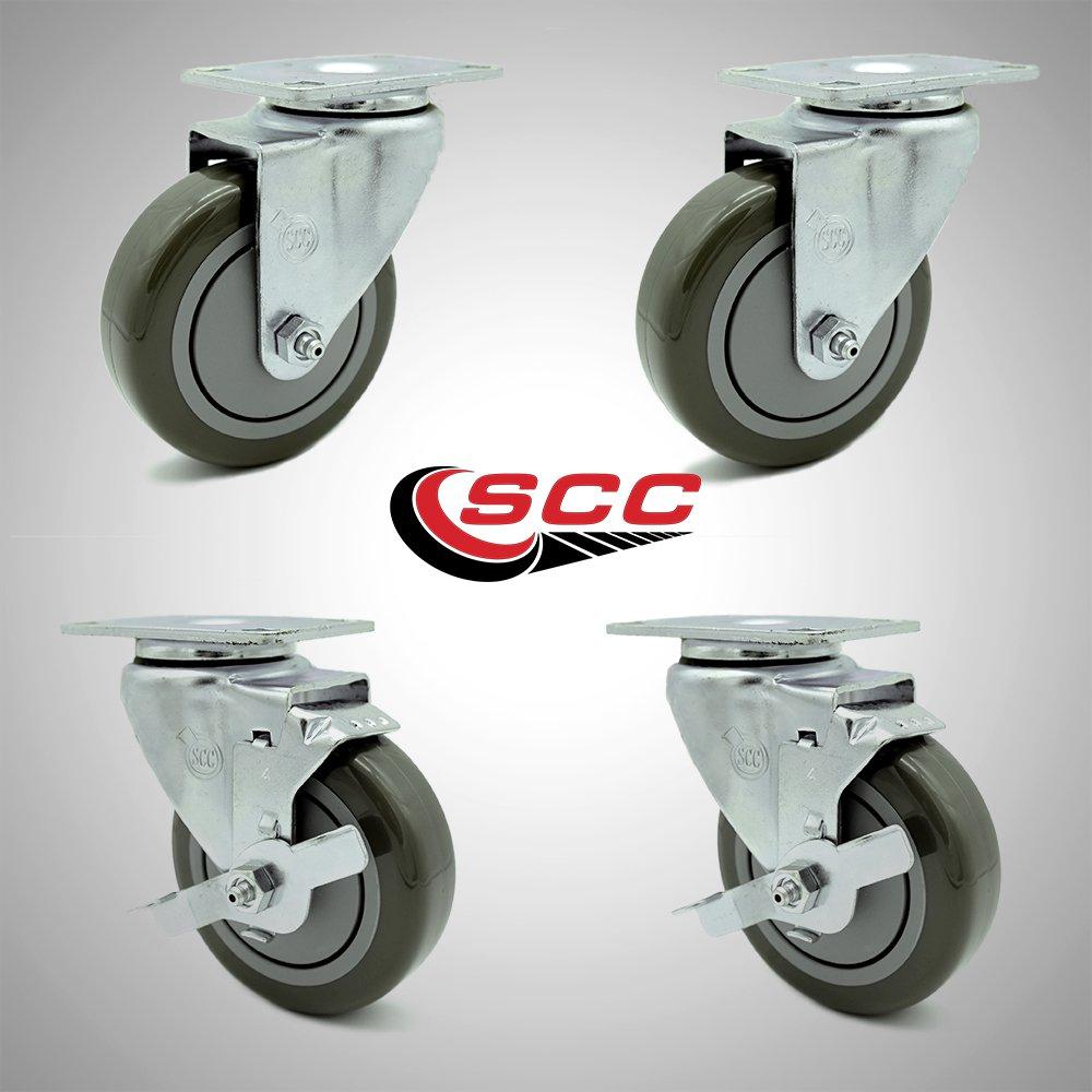 Service Caster – 4'' Gray Polyurethane Wheel – 2 Stainless Steel Swivel and 2 Stainless Steel Swivel Casters w/Brakes