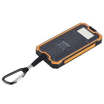 Suaoki - 10000mAh Batería Externa Cargador Solar PowerBank con Linterna LED (Portátil cargador con panel solar, para Smartphone y tablet)