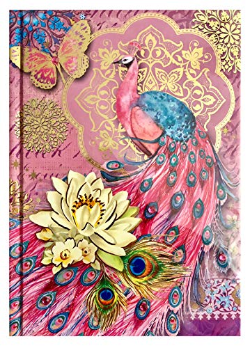 Pooch & Sweetheart Gold Foil Gem Embellished Journal, Waterlilly Pink Peacock - Notepad Peacock Feathers