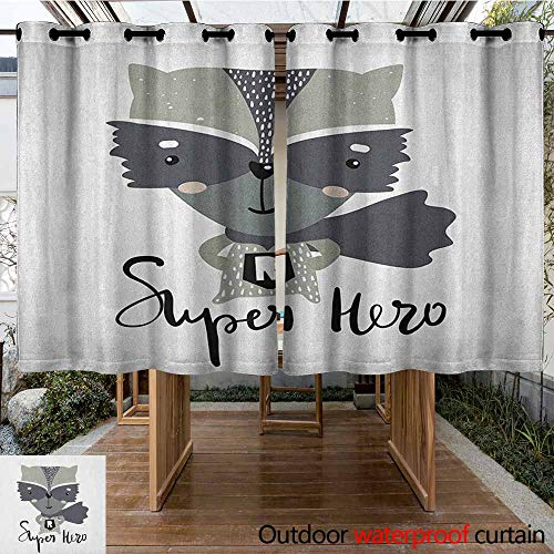AndyTours Outdoor Curtain Panel for Patio,Nursery,Cartoon Style Raccoon Super Hero with a Costume and Cape Childish Animal Design,Energy Efficient, Room Darkening,K183C115 Multicolor