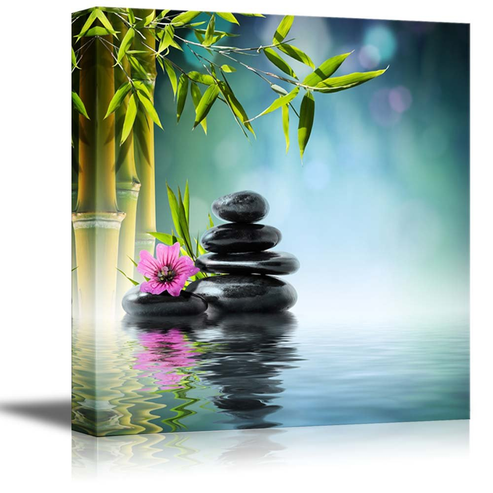 wall26 Canvas Prints Wall Art - Zen Stone and Hibiscus with Bamboo on the Water Spa Concept | Home Decoration Stretched Gallery Canvas Wrap Giclee Print & Ready to Hang - 12'' x 12''
