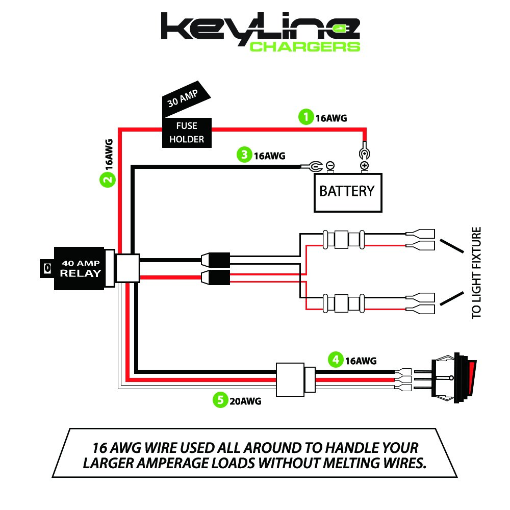 Led Light Bar Wiring Harness 12v 40 Amp Relay With Heavy Above Is A Diagram Of My 12 Volt I Have Protected The Positive Duty 16 Ga Awg Wire For Off Road Atv Bars Up To 300w 50 Inches On Switch
