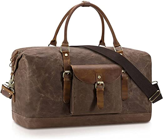 Plambag Oversized Duffel Bag, Water-repellent Canvas Leather Trim Overnight Luggage Bag Coffee