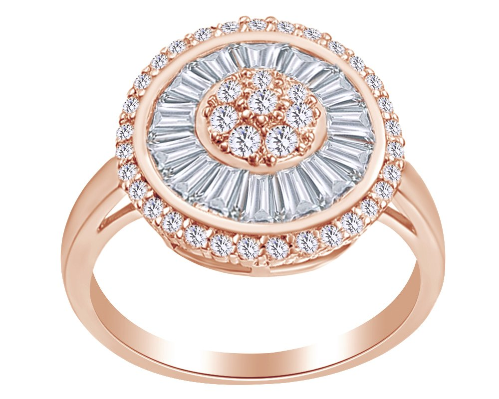 Round & Baguette Shape White Cubic Zirconia Sun Eternity Cluster Ring In 14K Rose Gold Over Sterling Silver,Ring Size-14