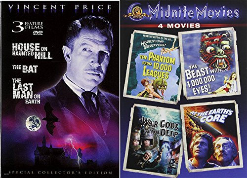 Vincent Price + Midnite Movies Phantom from 10,000 Leagues / Beast with 1,000,000 Eyes / War Gods of the Deep / At the Earth's Core + The House on Haunted Hill / The Bat / Last Man on Earth Film Set (Terror Eyes Halloween Dvd)