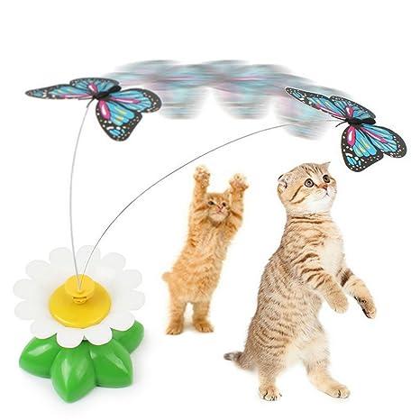 PANENDIANO Gato Juguetes interactivos Ingenio Gatos eléctrica giratoria diseñada Juguete Divertido de la Pluma de los