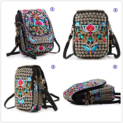 Embroidery Flowers Canvas Crossbody Bag, Women Messenger Bag, Cellphone Pouch Purse by Goodhan (Image #1)